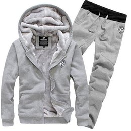 Wholesale fashion Tracksuit for Man Casual Spring Autumn Thicking Hoody Fur Lining Fleece Hoodies Pant Men s Sports Clothing Sets Sweat Suits