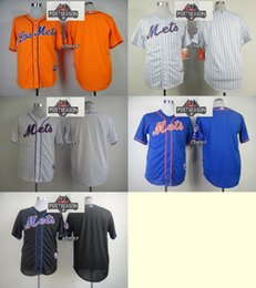 Wholesale 2015 Newest Men s New York Mets Blank White Black Orange Blue White Stripe Baseball Jerseys w Postseason Patch