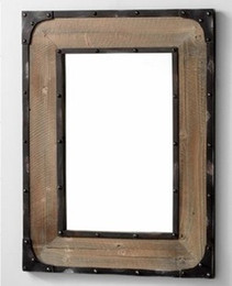 Wholesale American country furniture wrought iron frame retro style dressing mirror idea to do the old wood bathroom mirror mirror Specia
