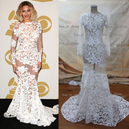 2015 Beyonce Dresses Sheer Celebrity gowns Sheer Long Sleeve Crew Mermaid Court Train Evening Red Carpet Dresses Real Images
