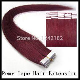 new star #99J Red Wine tape hair extensions PU skin weft malaysian virgin hair straight 40 piece 100g cheap virgin hair 100g