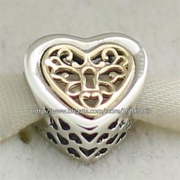 Compra Online Corazón del oro de la pulsera 925-100% de los corazones de plata de ley 925 de oro 14K real Bloqueado grano del encanto adapta Europea joyería de Pandora pulseras collares pendientes