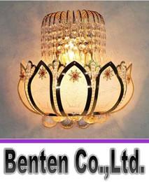 Wholesale llfa692 Modern design Lotus Petal wall lamp E14 bulb Eight angle crystal transparent stone wall lamp bedside lamp corridor lamp