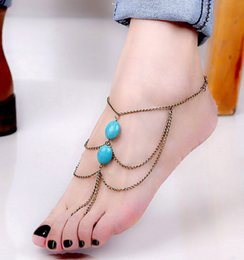 Wholesale ALL Match Chic Ankle Foot Chain Handmade Toe Link Rings Harness Turquoise Bracelet Lover Tassel Slave Anklets Antique Brass Blue