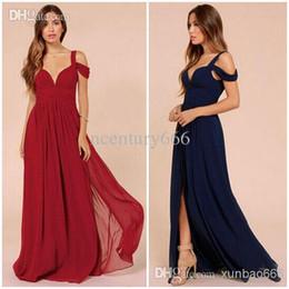 Wholesale Runway Dresses Chiffon Elegant Long Floor Length Deep V Neck Off the Shoulder Side Slit Folds A Line Prom Dresses Cap Sleeves