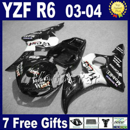 Lowest price fairing kit for YZF600 YAMAHA YZF R6 2003 2004 white black West fairings set YZF-R6 YZFR6 03 04 Fh81 +7 gifts