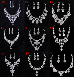Crystal Bridal Jewelry Wedding Accessories Sets Two Pieces Silver Color In Stock Rhinestone Wedding Dress Necklace Earrings 2015