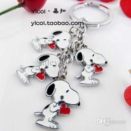 Wholesale-Snoopy cartoon keychain male women's car couple key chain key ring key chain dog