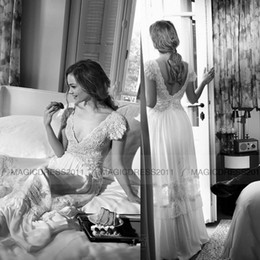 2019 A Line V Neck Cap Sleeves Lace Bodice Open Back Wedding Dresses Chiffon Vintage Bridal Gowns Vestidos De Novia