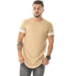 Wholesale-fashion extra long shirts for men couples matching clothing hiphop clothes kanye west plain blank t shirt curved hem tee