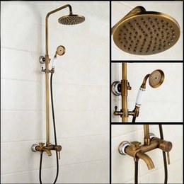 Wholesale Wall Mounted White And Blue Porcelain Shower Faucet Antique Brass Bathtub Mixer