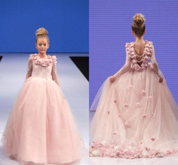 Wholesale Blush Pink Long Sleeves Pearls Back Cute Girls Pageant Dresses Ruffles Hand Made Flowers Long Dresses For Baby Toddler Princess Gowns BA1448