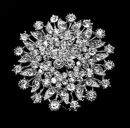Wholesale Top Jewelry Fashion Brooches Rhodium Silver Plated Clear Crystal Rhinestone Bridal Brooch Pins For Wedding