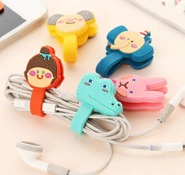 Wholesale creative cute cartoon earphone winder cable management hubs cable winding device