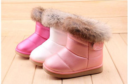 Children Boots Winter Rabbit Fur Bottom Gril Boots Children Cotton Shoes Thickening Rubber soles kids shoes Girls > Boots