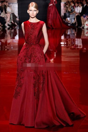 Runway Elie Saab Evening Dresses A Line Satin Prom Gowns with Pockets Lace Appliques Long Party Formal Dress