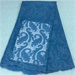 Hot sale dark blue design african lace fabric with beads french net lace cloth for party dress BN13-6,5yards pc