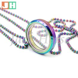 Newest 30mm round floating rainbow locket pendant! stainless steel waterproof screw floating locket pendant ( including chains)