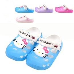 Wholesale 2015 girl s hello kitty sandals girls KT slippers kids summer shoes cut outs carton shoes size