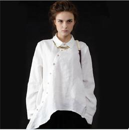 Plus Size Women Vintage Clothing Pockets Casual Ladies Long Shirts White Linen Shirt Womens Irregular Cotton Linen Big Shirts