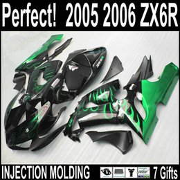 High quality injection for kawasaki zx6r fairing kit 2005 2006 plastic fairings green flame in black ZX6R 05 06 with 7 gifts BMq42