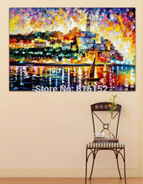 Attractive Palette Knife Picture Old Building in The City Painting Canvas Prints Mural Art for Living Room Bedroom Decoration