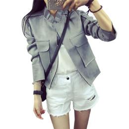 Wholesale-Female Leather Suede Jacket For Fall Women Basic Jackets Autumn Ukraine Ladies Other Faux Leather Outerwear & Coats Waistcoat