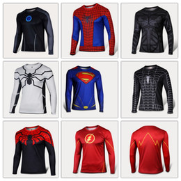 Wholesale Mans T Shirts Long Sleeve High Elastic Fast Dry Tops Superman Batman Spider Man Super Hero Shirts Water Proof Sport Riding Outdoor Tops