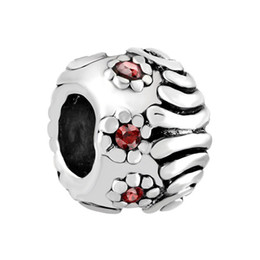 HK MYD Jewelry Rhodium Plating Garnet Crystal Rhinestone Flower European Charm Beads For Pandora Charm Bracelet