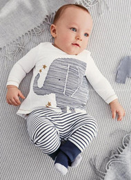 Wholesale 2016 Cartoon elephant print long sleeved striped baby boy clothes newborn autumn leisure suit warm clothing E145