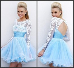 Wholesale Shirred Dress Straps - Light Blue Mini Cocktail Dresses Jewel Lace Applique Long Sleeves Open Back Shirred Sash Short Homecoming Prom Dress Evening Gowns WWL