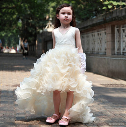 Free Shipping Empire V-Neck Wasit Beads Crystals Ruched Organza Birthday Pageant Wedding Hi-Lo Flower Girls Dresses