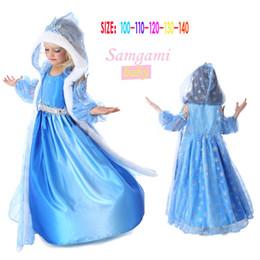 2014 girls hooded frozen elsa blue snow dress frozen hooded dress hooded cape costume frozen dress elsa frozen princess frozen e