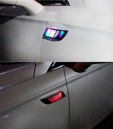Wholesale 2015 Top Fashion Limited Door Blue Car Styling Solar Led Strobe Abs Chromium Styling Stickers Simulation Vents Decorative Shark Gills Car