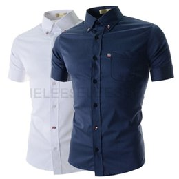 Wholesale new summer fashion personality three color button adorn Mens solid color shirt