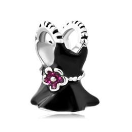 Wholesale Rhodium Plating Black Pink Rose Flower Girl's Beautiful Dress skirt Charm Bead Fit Pandora Charm Bracelet