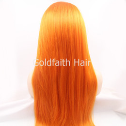 Wholesale SF3 Cheap Orange Wig Synthetic Lace Front Wig Extra Long quot Heat Resistant Straight Wig Kanekalon Cosplay Wig Orange