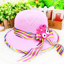 Kids hats coloured ribbon stripe bowknot children straw hat Octopus stick act the role ofing infant sun hat summer child Beach Cap ab1265