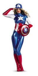 Wholesale Women s American Dream Captain America Avengers Costume Halloween Party Cosplay Zentai Suit