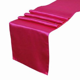 Wholesale 5 pieces Hot Pink Fuschia Satin Table Runner Wedding Cloth Runners Silk Organza Holiday Favor Party Decor RUN