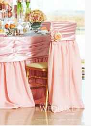 Wholesale 2015 Blush Pink Satin Chair Sashes Sample With Hand Made Flower Pink Chair Decorations Wedding Accessories Wedding Decorations