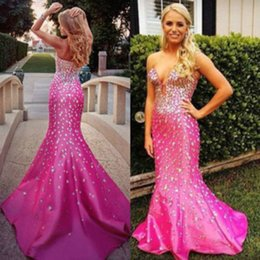 2019 Fashion Bling Bling Hotpink Evening Dresses Sweetheart Rhinestones Crystals Mermaid Taffeta Sparkling Party Gowns Custom Made
