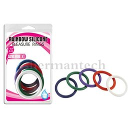 Hard Stretchy Silicone Cock Ring Set colorful rainbow penis rings sex toy keep dick hard