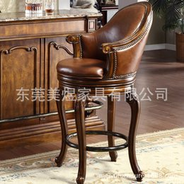 Wholesale American Beauty Yu stool chair leather chair European household bar carved wood leather rotating high chair