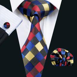 Classic Plaid Tie Set for Men Hanky Cufflinks Black Red Yellow Blue Jacquard Woven Neck Tie Set Silk Mens Business Work Formal N-0423