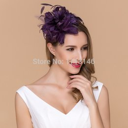 Wholesale-Free Shipping 2015 Gorgeous Purple Feathers Linen Bridal Wedding Hats With Band High End Women Hair Band 40403