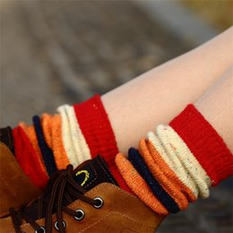 Wholesale New Arrival Angora Wool Girls Women Socks Retro Assorted Colors Striped Warm Girls Leg Warmers Boots Socks