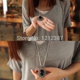 Fashion Retro Silver Ellipse Black Jewlery Girls Long Sweater Necklace HB88