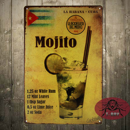 Wholesale Mojito cocktail Metal Poster Retro Pub Home Craft Decor Vintage Wall art Sign CM Mix Items