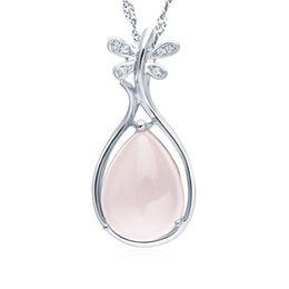 Chinese Natural Rose Quartz Ross Quartz Crystal Butterfly Pink Austrian Crystal Lute 925 Sterling Silver Plating on Copper Pendant Necklace